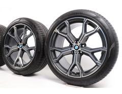BMW Sommerkompletträder X5 G05 X6 G06 21 Zoll Styling 741 Y-Speiche