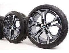 BMW Sommerkompletträder X5 G05 X6 G06 21 Zoll Styling 744 Y-Speiche